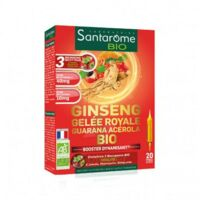 Santarome Bio Ginseng Gelée royale Guarana Acérola Solution buvable 20 Ampoules/10ml à Sarrebourg