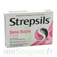 STREPSILS FRAISE SANS SUCRE, pastille édulcorée à l'isomalt, au maltitol et à la saccharine sodique
